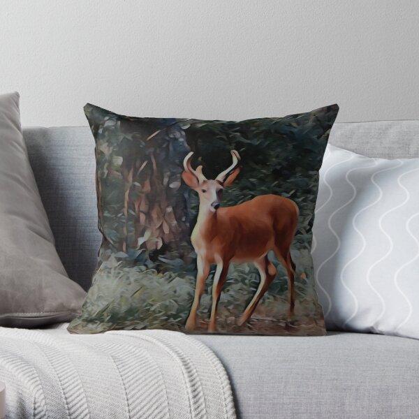 The yearling Buck Deer Throw Pillow