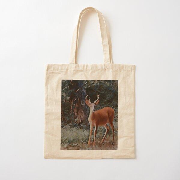 The yearling Buck Deer Cotton Tote Bag