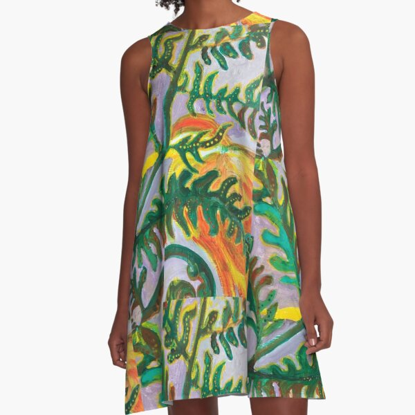 Heron in the Ferns A-Line Dress