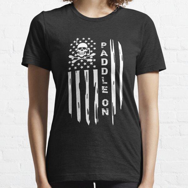 Kayak Paddle On Distressed USA American Flag Canoe Oars Skull Crossbones Grunge Essential T-Shirt