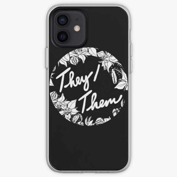 they them theirs script floral borage iPhone Soft Case
