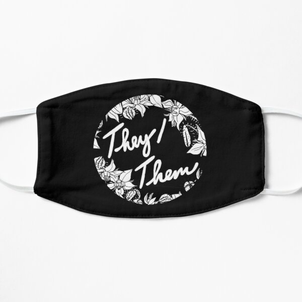 they them theirs script floral borage Flat Mask