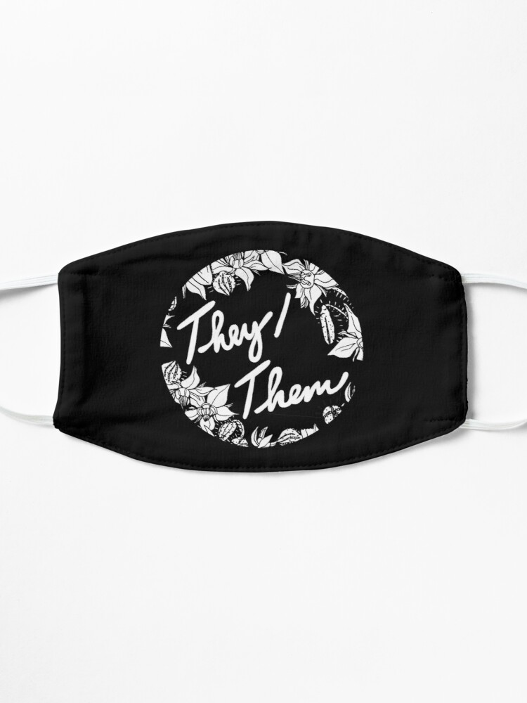 Alternate view of they them theirs script floral borage Mask