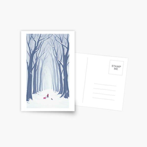 A Snowy Walk in the Woods Postcard