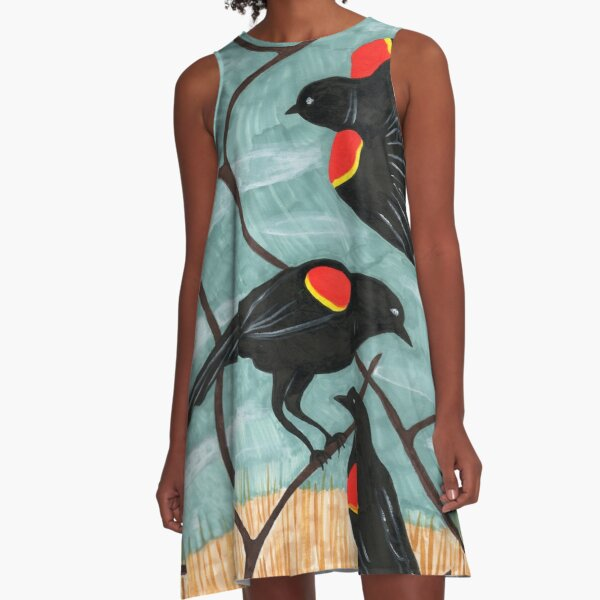 Red Winged Blackbirds by Amanda Laurel Atkins A-Line Dress