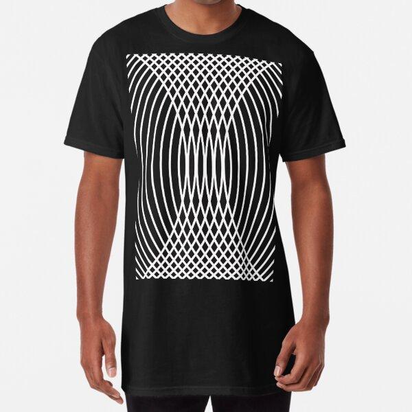 Elegant White Curves on Black Long T-Shirt