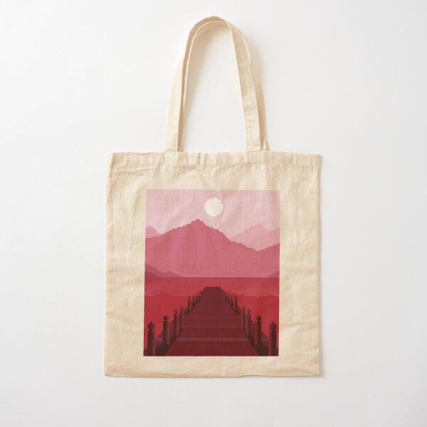 Long Dock Pixel Art Cotton Tote Bag
