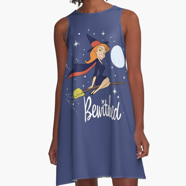 Bewitched Broom Shirt, Sticker, Mask A-Line Dress