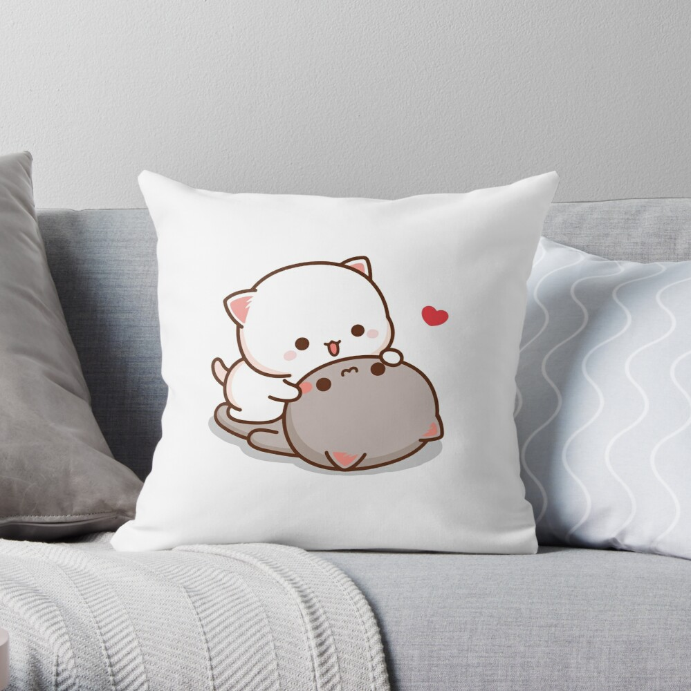 Peach and Goma Mochi Cat Love Throw Pillow