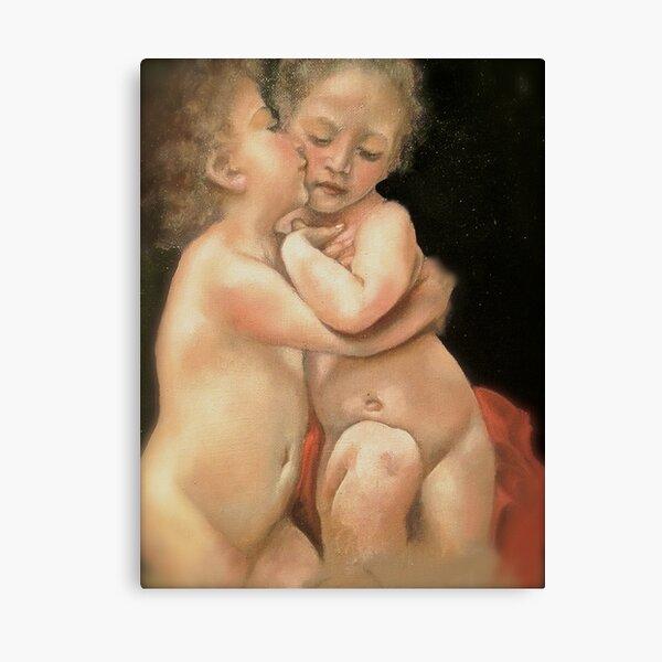 """Bouguereau's """"Primo Bacio"""" (part)  Canvas Print"""