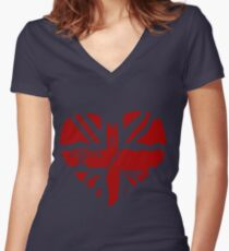 Brit At Heart (Red) Women's Fitted V-Neck T-Shirt