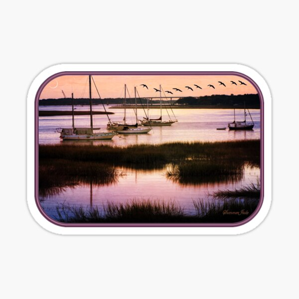 Boats at Anchor ~ Evening Tranquility Sticker