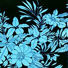 Blue Floral with Black Background by yonni