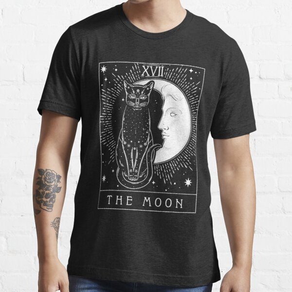 Tarot Card Crescent Moon And Cat Graphic Essential T-Shirt