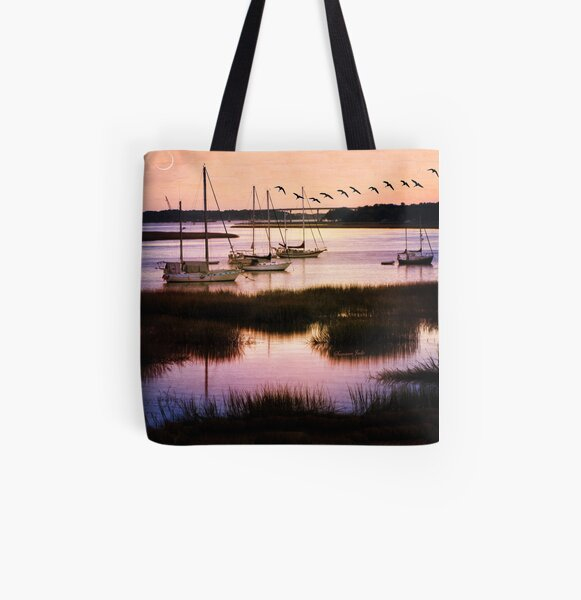 Boats at Anchor ~ Evening Tranquility All Over Print Tote Bag