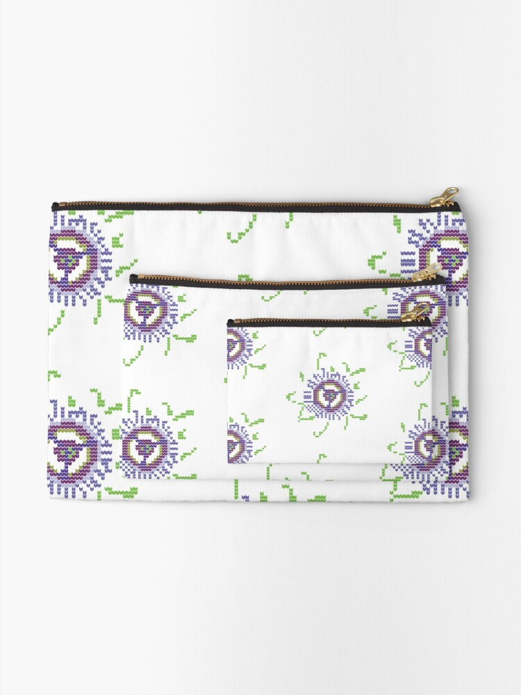 Alternate view of Passioned Flower knit stitch logo Zipper Pouch