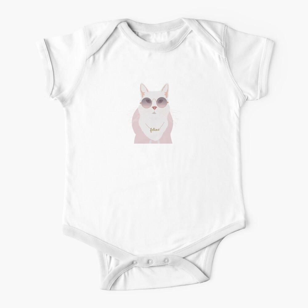 Cute Animal Happy Lazy Shade Onesie T-Shirt White Newborn Unisex Cat