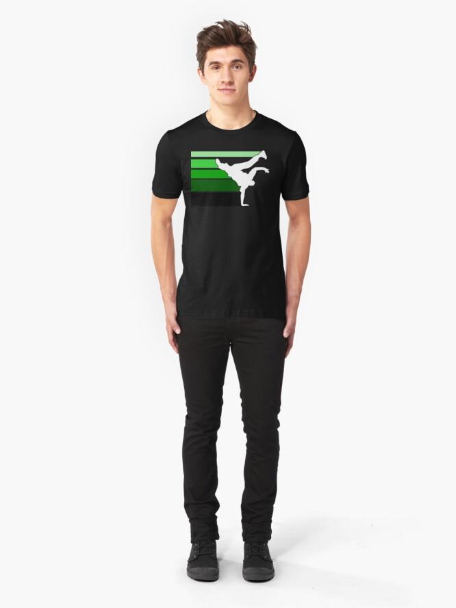 Alternate view of BBOY lines grn/wht Slim Fit T-Shirt