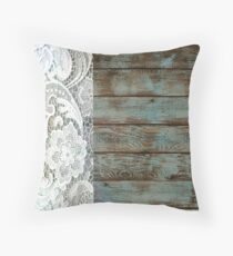 Western Country distressed turquoise Barn Wood white Lace Throw Pillow