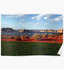 Lake Powell and houseboats, Utah, USA Poster