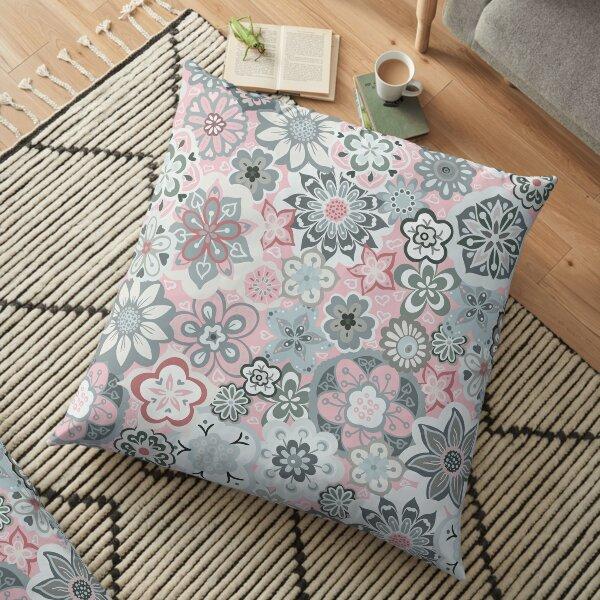 Beautiful Bouquet of Midsummer Blooms in light grey and pink Floor Pillow