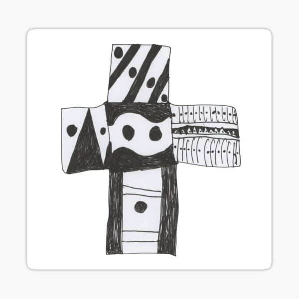 black and white cross Sticker