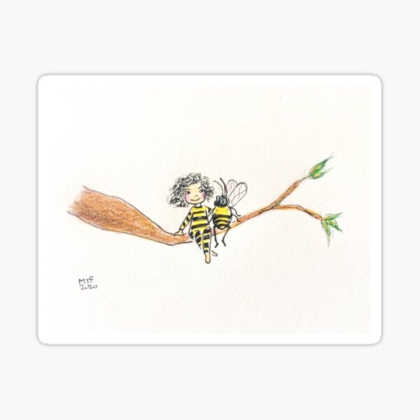 Let's Bee Friends, Cute and sweet illustration Sticker