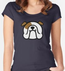 English Bulldog - white and brown - bold Bully dog by smooshfaceunited  Women's Fitted Scoop T-Shirt