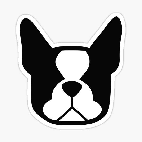Boston Terrier face in black and white - bold Boston silhouette - copyright Smooshface United - Boston Terrier gift Sticker