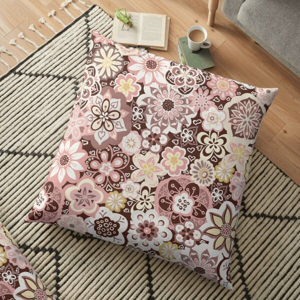 Beautiful Bouquet of Midsummer Blooms in pink, yellow and brown Floor Pillow