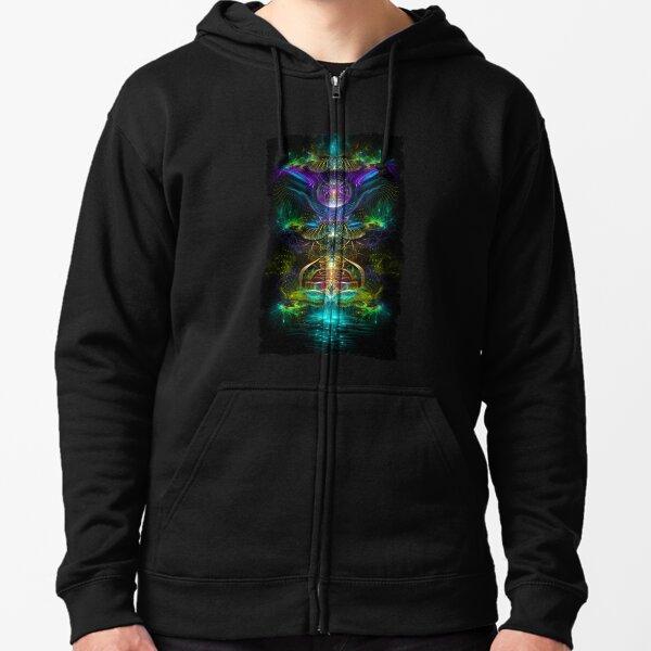 Neon1 Visionary fractal art Zipped Hoodie