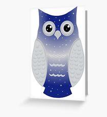 Dark Blue Snow Owl Greeting Card