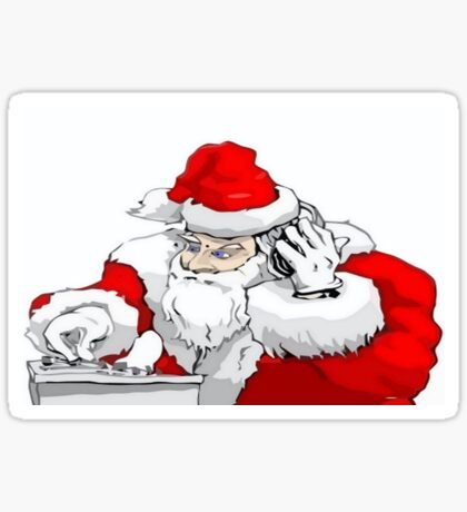 DJ Santa Claus Mixing The Christmas Party Track Sticker