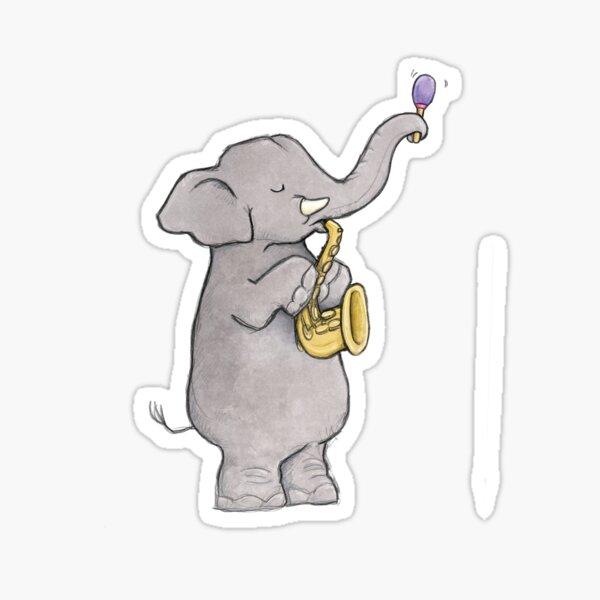 Elephant Sax Sticker