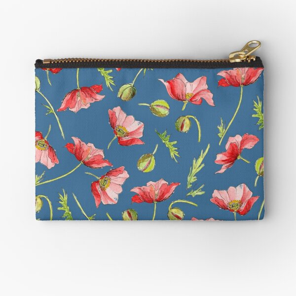 Red Poppies, Illustration Zipper Pouch