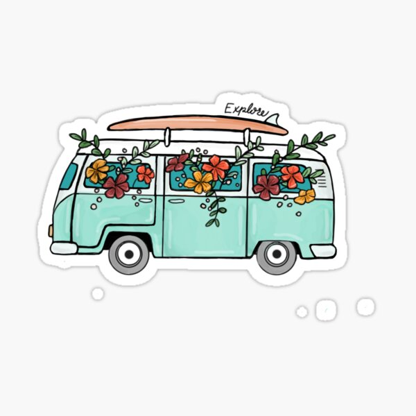 Flower filled VW Bus explore Sticker