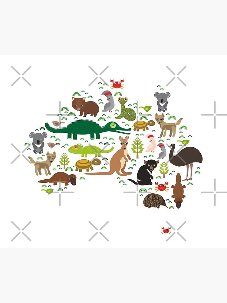 Mapa de animales australianos Echidna Platypus avestruz Emu Demonio de Tasmania Cacatúa loro Wombat serpiente tortuga cocodrilo canguro dingo pulpo pez de EkaterinaP