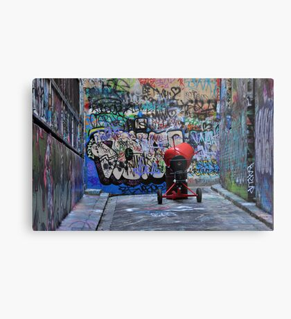 The Red Concrete Mixer Metal Print