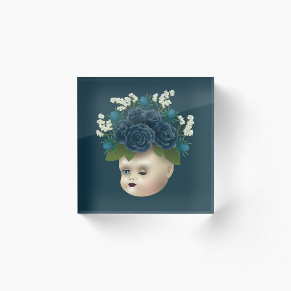 Black Roses Old Doll Head  Acrylic Block