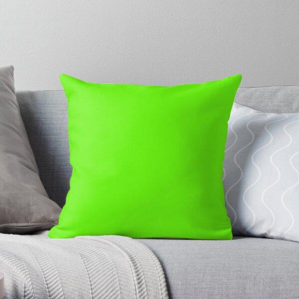Plain Bright Green Throw Pillow
