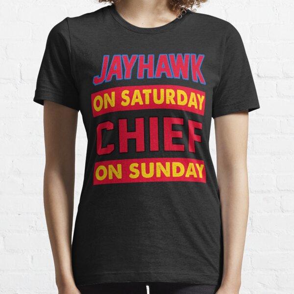 Jayhawk On Saturday Chief On Sunday Kansas City Essential T-Shirt