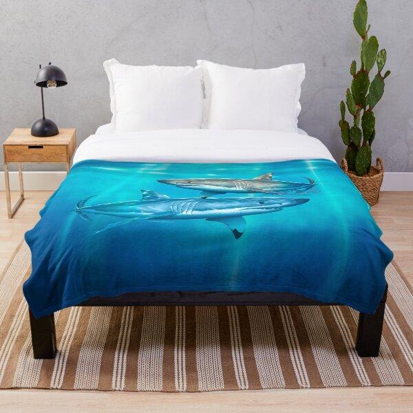 Neptune White Shark Throw Blanket