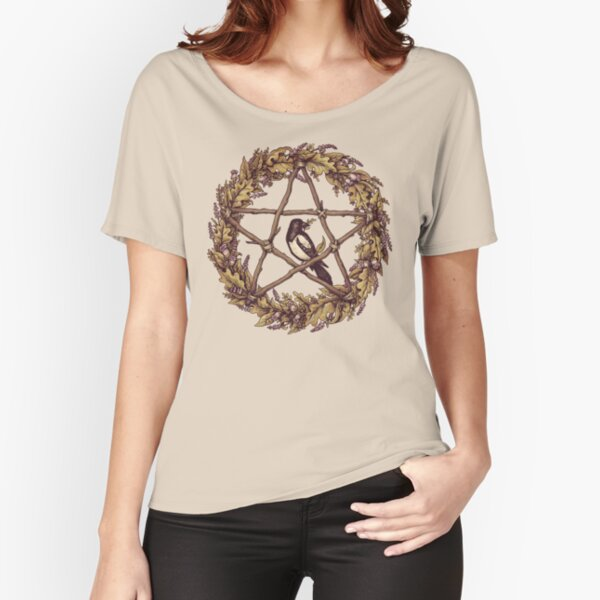 Botanical Pentacle Wreath Witch Relaxed Fit T-Shirt