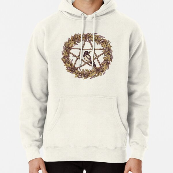 Botanical Pentacle Wreath Witch Pullover Hoodie