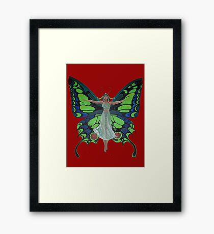 Art Nouveau Vintage Flapper With Butterfly Wings Framed Print