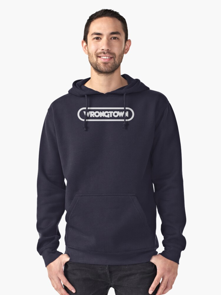 Wrongtown T-shirt Capsule Light Text (Mens) Pullover Hoodie Front