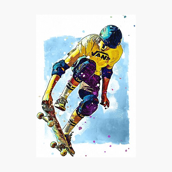 Skateboarder Watercolour Photographic Print