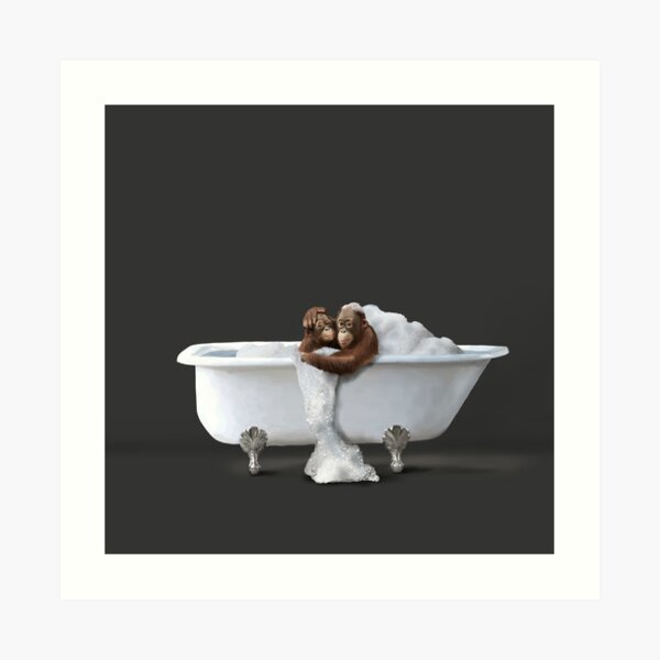 Orangutans in Bath Art Print