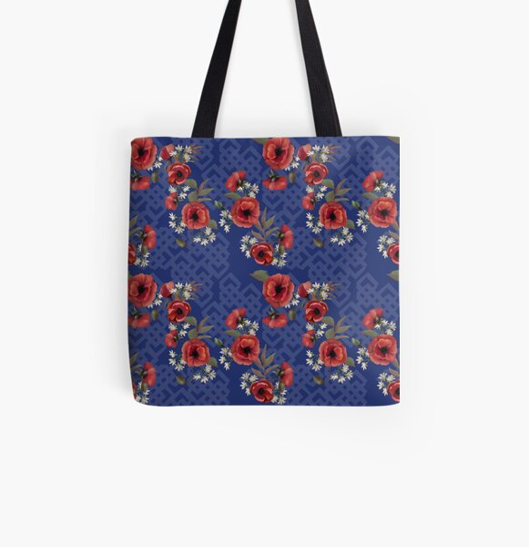 Remembrance Blue Floral All Over Print Tote Bag