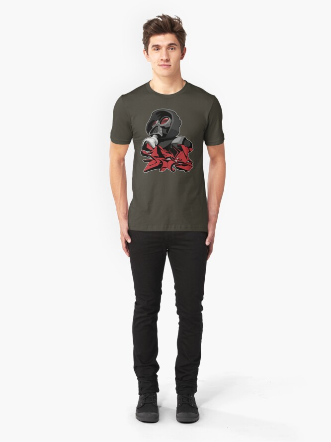 Alternate view of Graffiti propaganda style Slim Fit T-Shirt
